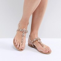 Faith Jile Rose Gold Embellished Flat Sandals at asos.com