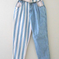 90s Jeans 80s Jeans High Waist Jeans Pink Jeans Tapered Jeans Striped Jeans High Waste Jeans Colored Jeans 80s High Waist Jeans Women Jeans