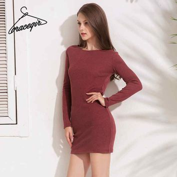 Gracegirl Spring Women Dresses Series 2018 Knitted Stretch Cross Bandage Backless Sexy Dress Sheath Bodycon Vestidos KW173046