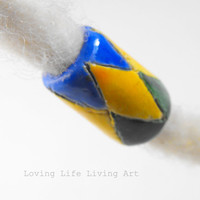 Harlequin Dread Beads Handpainted Clay Dreadlock Beads Glossy Glazed Finish Dreadlock Accessories