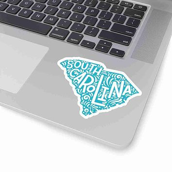 South Carolina State Shape Sticker Decal - Teal