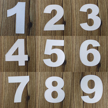 Reflective House Door Address Mailbox Number Digits Numeral Room Gate Car Number 0 1 2 3 4 5 6 7 8 9 Sticker Decal 7Cm Height