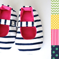 Custom Preppy Baby Girl Shoes, Baby Mary Jane Shoes Pink, Navy, Green, Yellow, Preppy Baby Girl, Toddler Mary Janes, Baby Ballet Flats