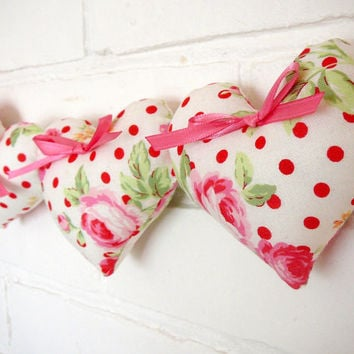 Fabric Heart Bunting - Garland Banner -  Shabby Chic Hearts - Cottage Chic Nursery - Shabby Chic Girls Room Decor