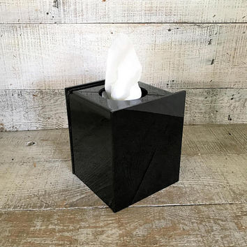 Tissue Box Cover Black Tissue Box Holder Mid Century Tissue Box Cover Black Plastic Tissue Box Holder Black Bathroom Decor
