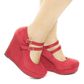 Daniel Lipstick By Soda, Almond Toe Double Strap Mary Jane Platform Wedge Heel Pumps