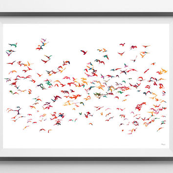 Birds flocking Watercolor Print flock poster birds illustration group of birds flocking wall art decor gift flock giclee print [NO 41]