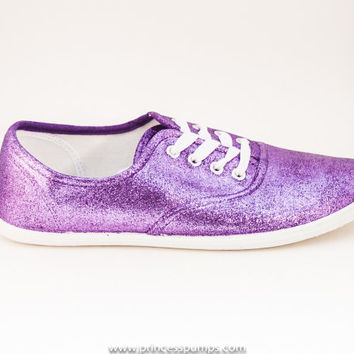 Lavender Purple Glitter CVO Canvas Sneakers Shoes