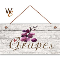 "Purple Grapes Sign, Garden Sign, Rustic Distressed Decor, Weatherproof, 5"" x 10"" Sign, Gift For Gardener, Made To Order"