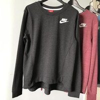 nike crew neck long sleeves top sweater pullover sweatshirt in black gray