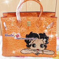 Hermes Birkin Inspired Ostrich Pattern Handbag / Purse with Betty Boop - ZoeCrystal