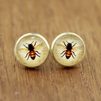 Bee Earrings : Bug, Hornet, Bumble Bee Stud Earrings, Fake Plugs, Summer, Fun, Vintage by OAKWILDE on ETSY