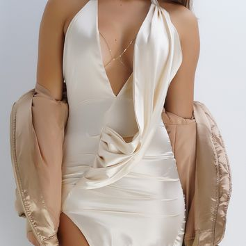 BRITTANY BEAR Satin Mini Dress - Ivory