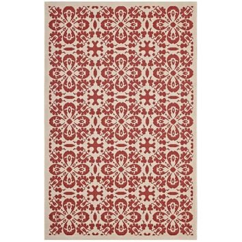Ariana Vintage Floral Trellis 8x10 Indoor and Outdoor Area Rug Red and Beige R-