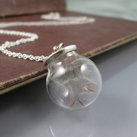 Dandelion Seed Necklace,make a wish necklace,Dandelion Necklace,good luck charm,real flower Necklace,Glass Necklace,bridesmaid gift