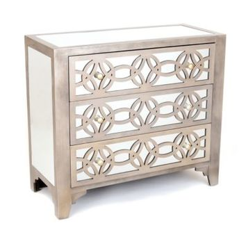 Libby Silver Mirrored 3-Drawer Chest | Kirkland's