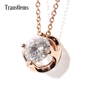 TransGems 2 Carat Lab Grown Moissanite Diamond Solitaire Pendant Link Chain Necklace 18K Rose Gold for Women Engagement Wedding