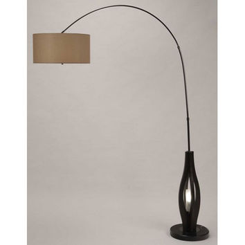 NOVA Lighting 2110358 Kindle Dark Brown and Brushed Nickel Two-Light Arc Lamp with Beige Linen Shade