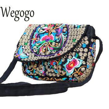 Wegogo Women Handbag Ethnic Boho Embroidered Small Shoulder Messenger Bag