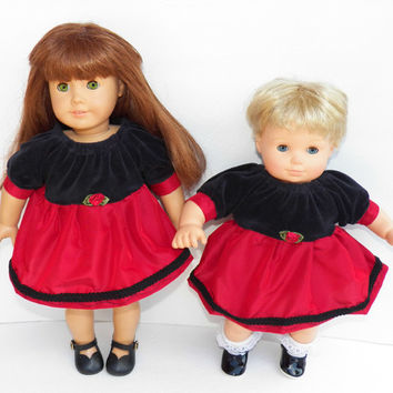 "American Girl or Bitty Baby Clothes 15"" Doll Clothes 1 Black Velour and Red Burgundy Wine Satin Holiday Christmas Peasant Dress"