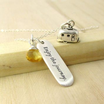 Retirement Necklace - Enjoy the Journey Quote - Travel Trailer Charm - Travel Jewelry - Genuine Gemstone Birthstone - Going Away Gift