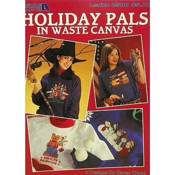 Holiday Pals in Waste Canvas - Counted Cross Stitch Leaflet - Leisure Arts