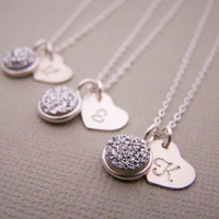 Druzy Necklace - Tiny Silver Druzy - Silver Heart Initial Personalized Sterling Silver Necklace / Gift for Her - Bridesmaid Necklace