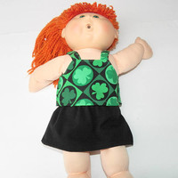 BITTY BABY CLOTHES, doll girl or 15 inch twin, St. Patrick's Day, Irish, Shamrock,skirt, or cabbage patch kids, handmade adorabledolldesigns