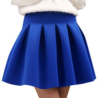 High Waist Zippered Pleated Skirt