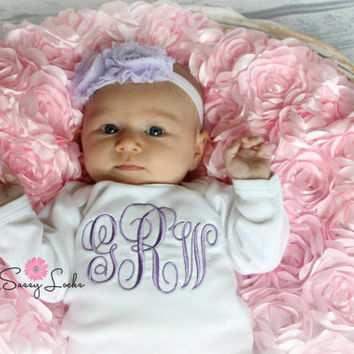 Monogram Baby Girl Take Home Outfit Personalized Baby Girl Clothes Coming Home Outfit Layette Gown with Headband or Hat Options Newborn Baby
