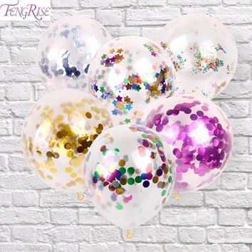 FENGRIS  5pc 12 inch Multi Clear Confetti Balloon Wedding Decoration Gold Foil Confetti Happy Birthday Balloons Baby Shower Gift