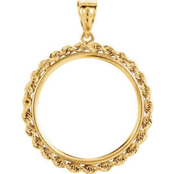 14K Yellow 27x2mm Tab Back Solid Rope Coin Frame Pendant for U.S. $10.00 or 1-2 Ounce Chinese Panda