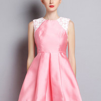 Pink Lace Accent Sleeveless Sheath A-Line Mini Skater Dress