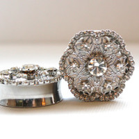 Diamond Flower  Wedding Plugs 1 1/8 Inch 28mm