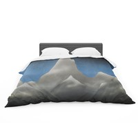 "Bruce Stanfield ""Snowy Mountains"" Blue Teal Painting Featherweight Duvet Cover"