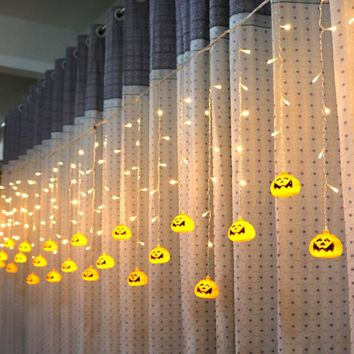 96pcs LED Strip Pumpkin Fairy Lights LED Curtain String Lights Tree Hanging Decor for Halloween Bars Parties Decoration Lamps
