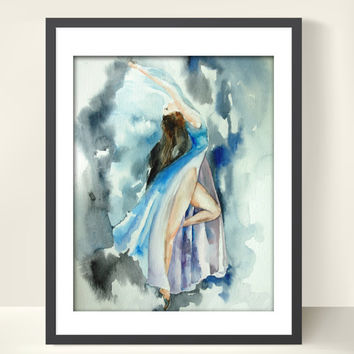 Ballerina Dancer Art Print 11x14 from Original Watercolor Painting Blue Dance Figurative Art