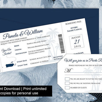 DIY Printable Wedding Boarding Pass Luggage Tag Template | Invitation | Editble MS Word file | Instant Download | Puerto Rico Navy Blue