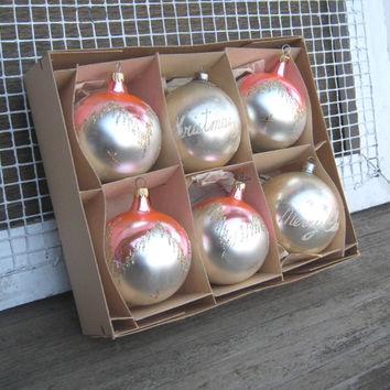 Box of Gorgeous Shiny Brite Pink & Silver Ornaments - Large Matte Silver with Shiny Pink Vintage 1950s Lanissa Ornaments - Pink Wedding