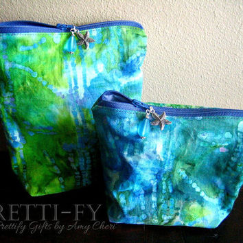 Blue Fabric Cosmetic Bags, Beach Makeup Bags, Nautical Bags, Small Blue Bags, Small Green Bags, Zipper Pouches, Clutch Bags, Purse Accessory