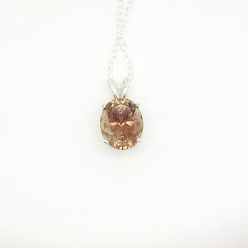 Pink Oregon Sunstone Necklace - Sterling Silver Oregon Sunstone Pendant - Peach Champagne Oregon Sunstone Jewelry