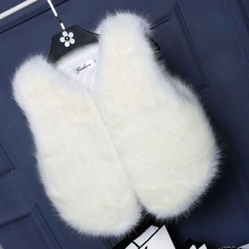 DCCKB62 Women Lady Vest Sleeveless Coat Faux Fur Outerwear Long Hair Jacket Waistcoat
