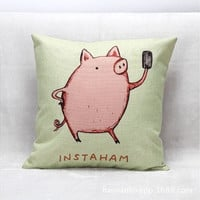 Cushion Cover Lovey Pig Printing Decorative Throw Pillows Cover Animal Pillow Cases for Couch Sofa Pillowcase