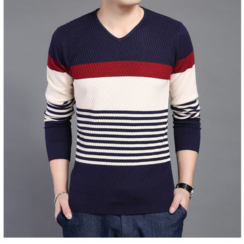 Long Sleeve Knit Tops Slim Men's Fashion T-shirts Men V-neck Sweater [6544133123]