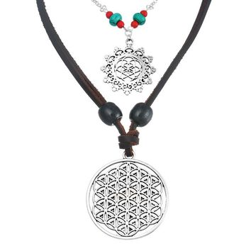 2PCs/set 50cm 80cm Choker Jewelry White K plated Hollow Design Flower Of Life Jewelry Pendant Necklace