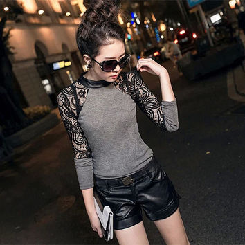 Fashion Women Crew Neck Hollow Out Long Sleeve Slim Knitwear Female Sexy Lace Party Club Wear Base Sweater Size M L XL Hot Sale