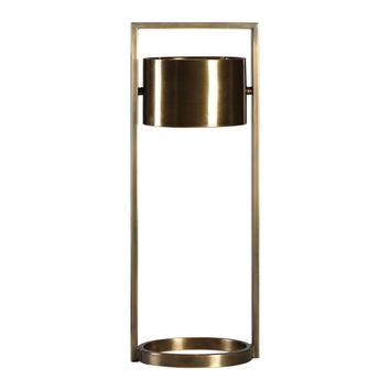 Ilario Modern Antiqued Brass Suspended Drum Shade Table Lamp by Uttermost