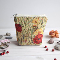 Poppies charger bag with zipper, Charger case, Cosmetic pouch, Make Up Pouch, Toiletery bag, Project bag, Travel bag, Coin Purse