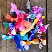 15 Hand Tie Dyed Hair Ties Collection Exclusively by Elastic Hair Bandz