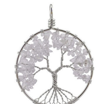 Tree Pendant April Crystal Birthstone Necklace